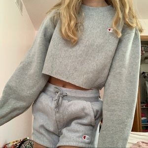 gray cropped champion sweatshirt